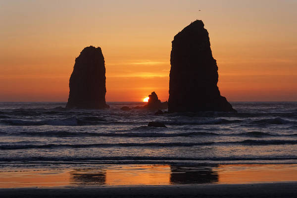 Photograph - Sunset At Cannon Beach by Wes and Dotty Weber