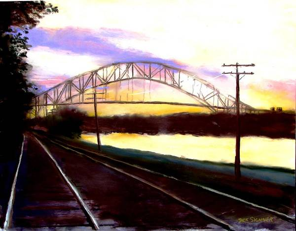 Wall Art - Painting - Sunset At Cape Cod Canal by Jack Skinner