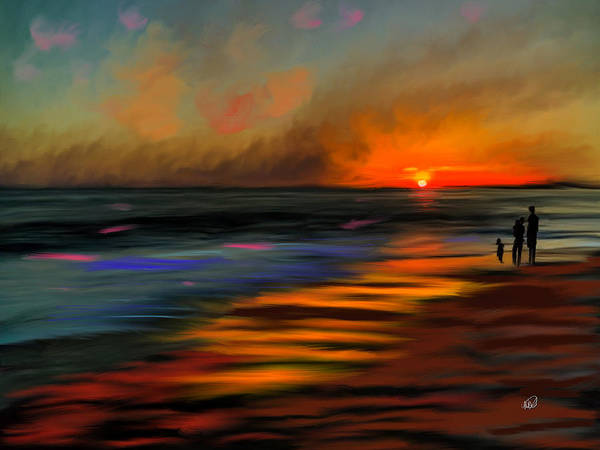 Finger Paint Painting - Sunset At Capo Beach In California by Angela Stanton