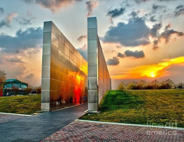 Photograph - Sunset At Empty Skies 9/11 Memorial Nj by Nick Zelinsky