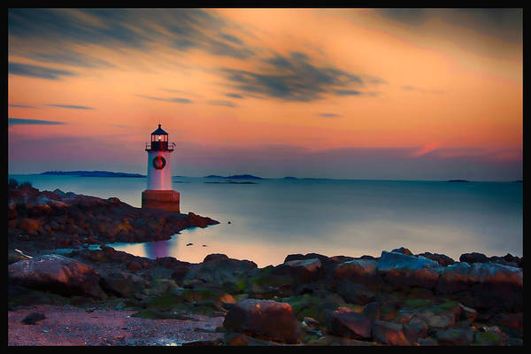 Pickering Photograph - Sunset At Fort Pickering Lighthouse by Jeff Folger