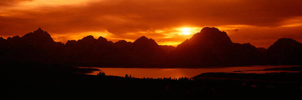 Escarpment Photograph - Sunset At Jackson Lake And Grand by Panoramic Images