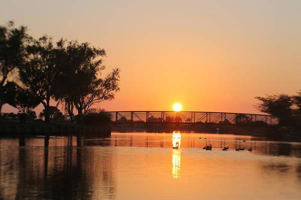 Photograph - Sunset At Northside Park Bridge by Robert Banach