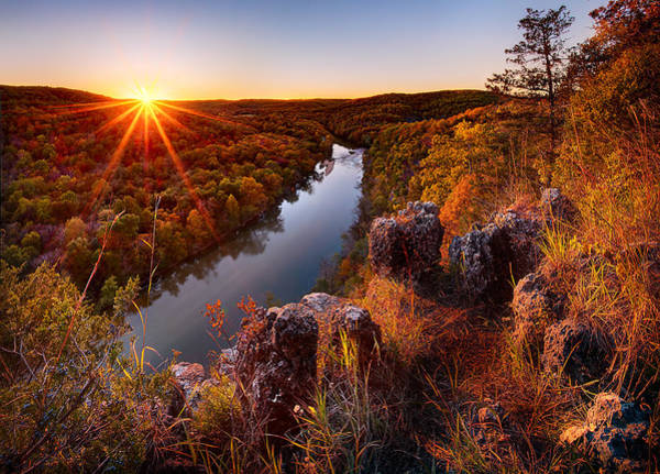 Missouri Ozarks Photograph - Sunset At Paint-rock Bluff by Robert Charity