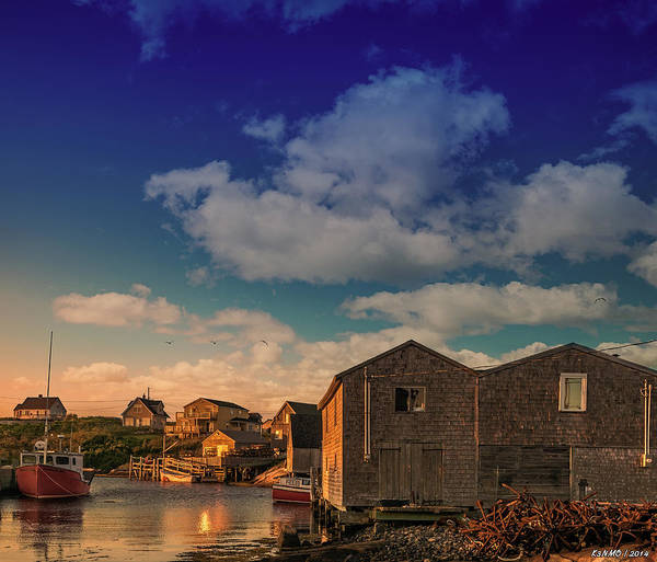 Halifax Nova Scotia Digital Art - Sunset At Peggy's Cove 05 by Ken Morris