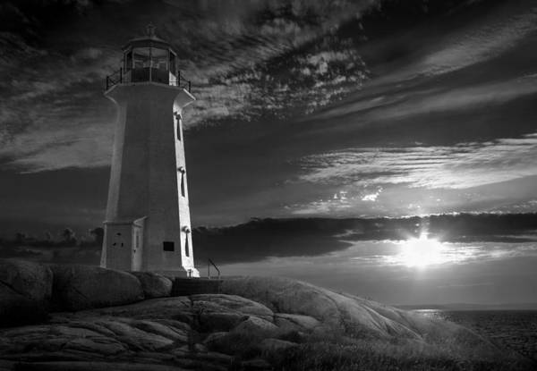 Photograph - Sunset At Peggys' Cove Lighthouse In Black And White by Randall Nyhof