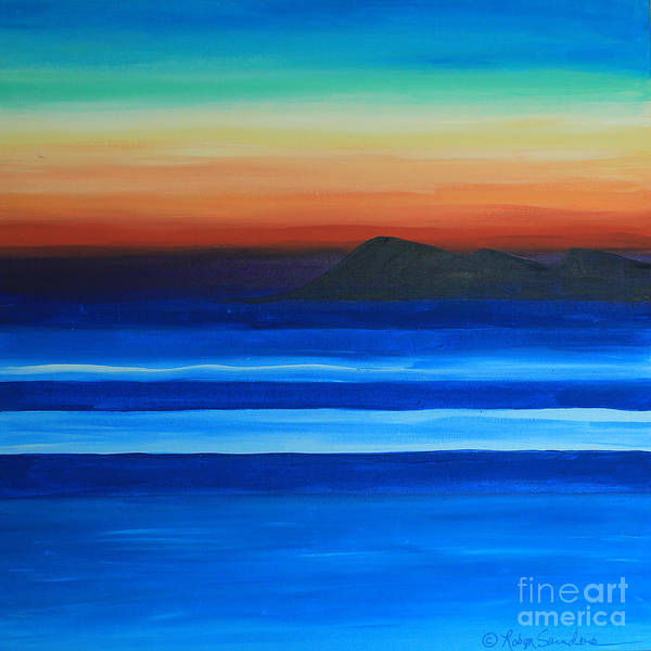 Painting - Sunset At Sea Of Island On Left by Robyn Saunders
