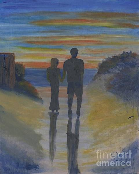 Wall Art - Painting - Sunset At The Beach by Gloria Condon