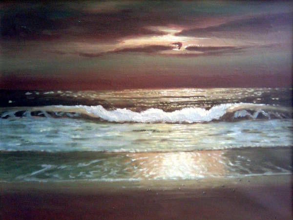 Oceanscape Painting - Sunset At The Beach by Mojgan Jafari