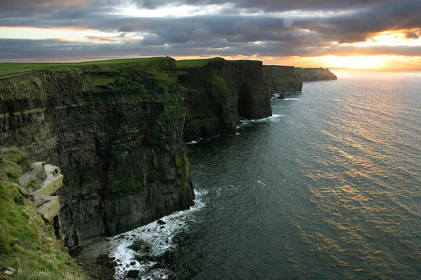 Moher Photograph - Sunset At The Cliffs Of Moher Ireland by Pierre Leclerc Photography