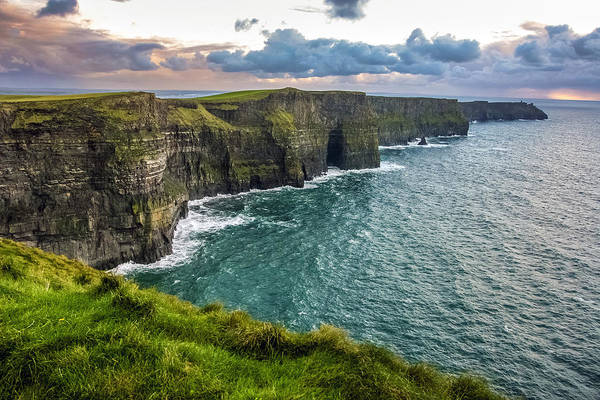 Moher Photograph - Sunset At The Cliffs Of Moher by Pierre Leclerc Photography
