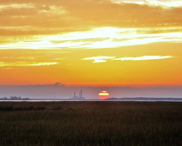 Photograph - Sunset At The Indian River Power Plant by Kim Bemis