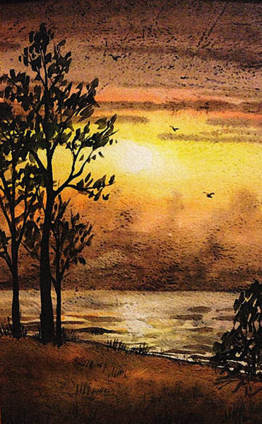 Umber Painting - Sunset At The Lake by Irina Sztukowski