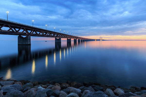 Skane Photograph - Sunset At The Øresund Bridge, Malmö by Maria Swärd