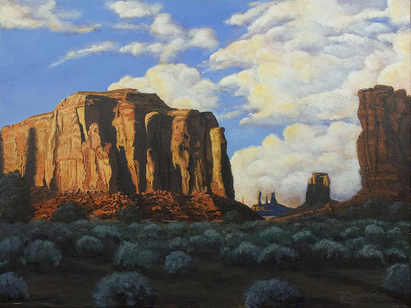 Butte Painting - Sunset At The Window Monument Valley by Timithy L Gordon