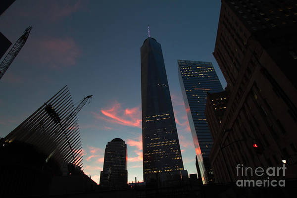 Photograph - Sunset At The Wtc Reconstruction Site by Steven Spak