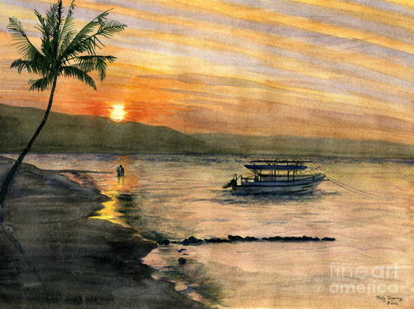 Honeymoon Painting - Sunset At Tropical Island by Melly Terpening
