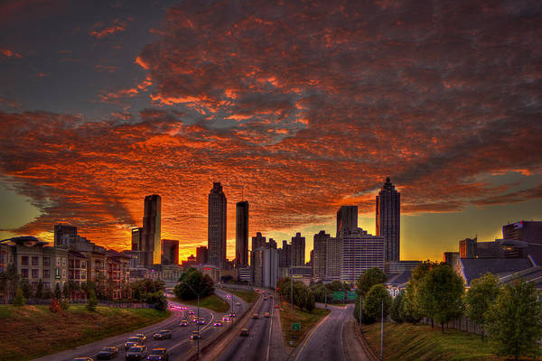 Georgia Power Company Photograph - Sunset Skyline Atlanta Downtown Orange by Reid Callaway