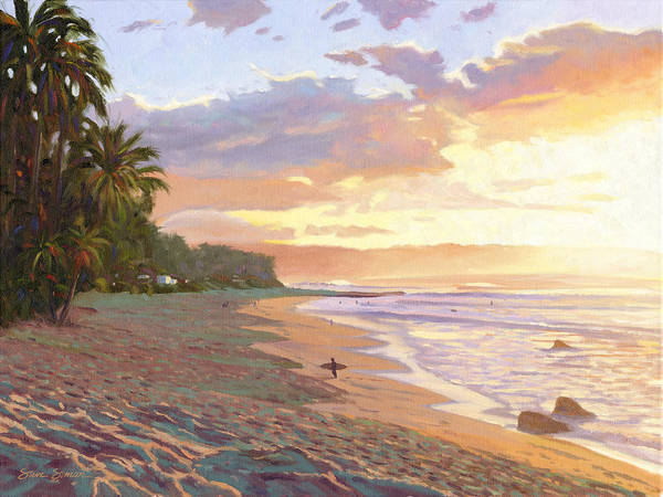 Wall Art - Painting - Sunset Beach - Oahu by Steve Simon