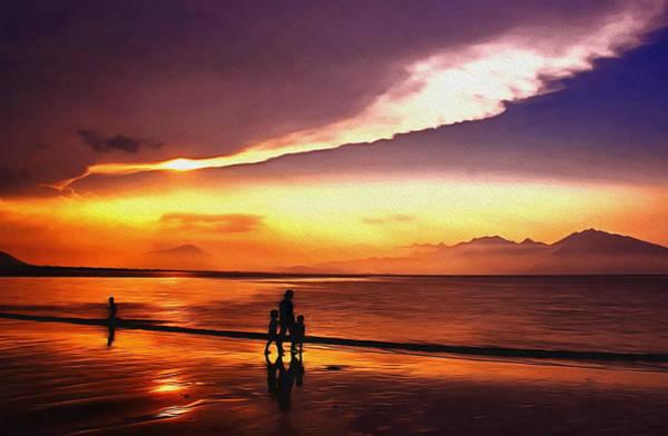 Semis Digital Art - Sunset Beach by Georgiana Romanovna