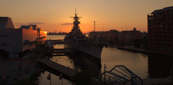 Norfolk Va Wall Art - Photograph - Sunset Behind The Wisconsin by Shannon Louder