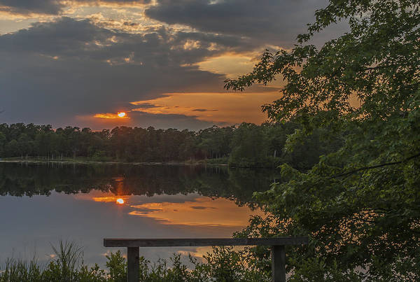 Lakehurst Photograph - Sunset Bench Lake Horicon Nj by Terry DeLuco
