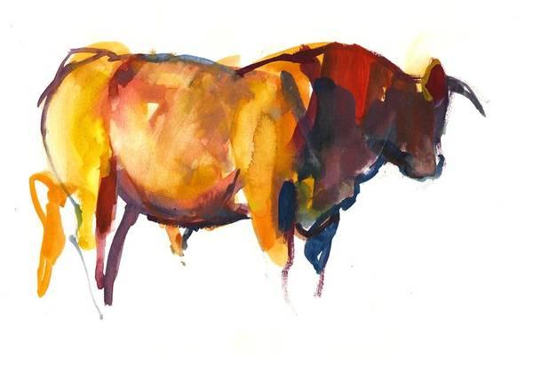 Farm Animals Photograph - Sunset Bull, 2010 Watercolour And Gouache On Paper by Mark Adlington