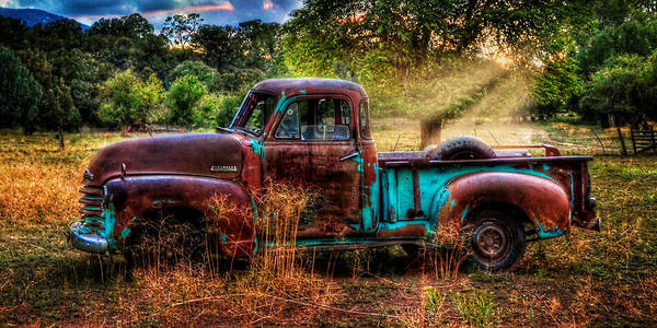 Old Chevy Photograph - Sunset Chevy Pickup by Ken Smith