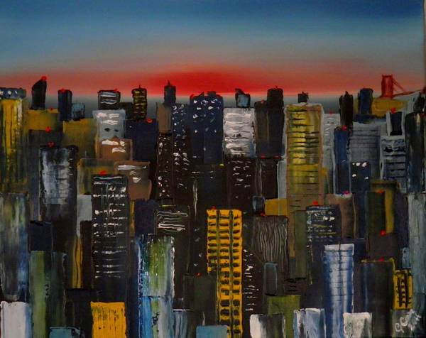 Chris Cox Painting - Sunset Cityscape by Chris Cox