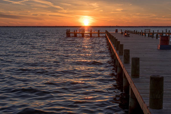 Photograph - Sunset Dock Seaside Park New Jersey by Terry DeLuco