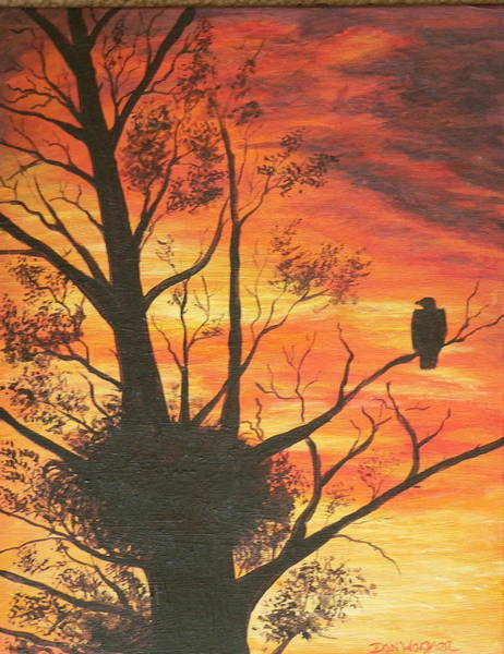 Painting - Sunset Eagle by Dan Wagner