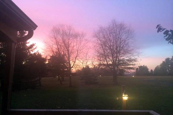 Getaway Mixed Media - Sunset Elegant Fall Tree Show Skyview Resort Weekend Getaway To Poconos Pa America Usa Landscape Nav by Navin Joshi