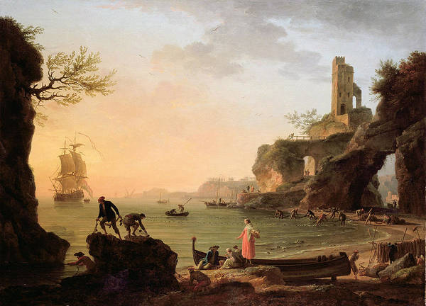 Galleons Wall Art - Painting - Sunset, Fishermen Pulling In Their by Claude Joseph Vernet