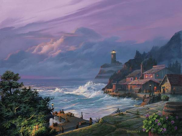 Lighthouse Painting - Sunset Fog by Michael Humphries