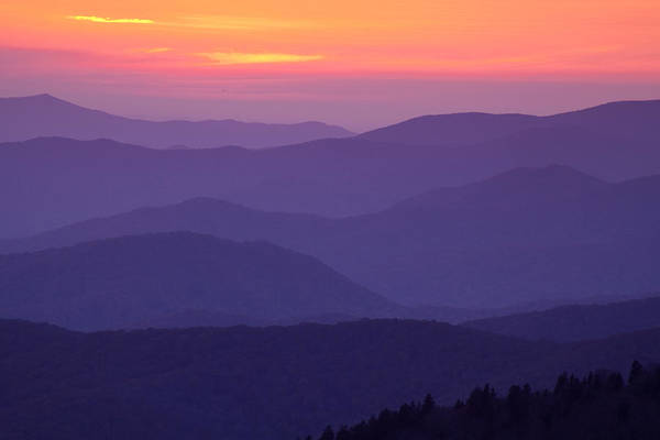 Purple Haze Photograph - Sunset From Atop The Smokies by Andrew Soundarajan