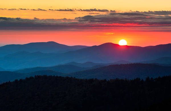 Dome Peak Photograph - Sunset From Clingman's Dome - Great Smoky Mountains by Dave Allen