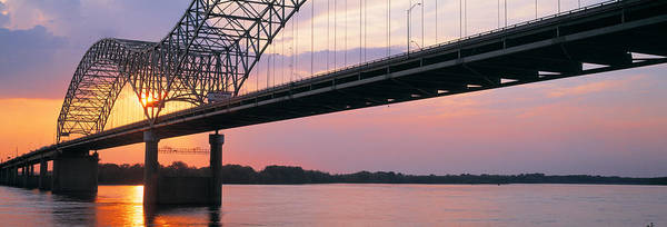 Join Wall Art - Photograph - Sunset, Hernandez Desoto Bridge And by Panoramic Images