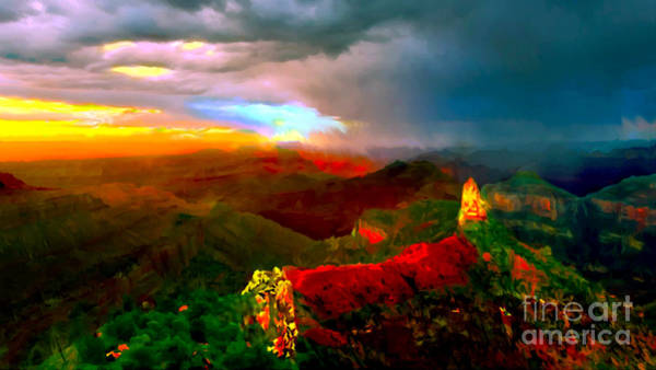 Painting - Sunset Imperial Peak North Grand Canyon Panorama by Bob and Nadine Johnston