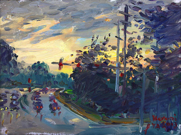 Military Painting - Sunset In Military Highway Norfolk Va by Ylli Haruni