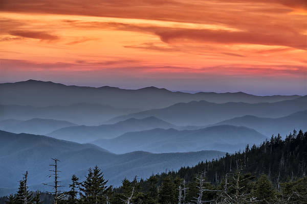 Dome Peak Photograph - Sunset In The Smokies by Eduard Moldoveanu