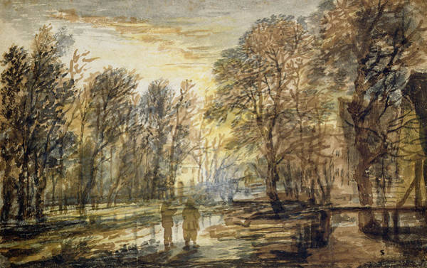 Woods Drawing - Sunset In The Wood by Aert van der Neer