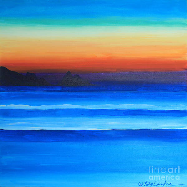 Painting - Sunset Island To Right At Sea by Robyn Saunders