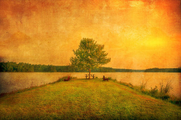 High Dynamic Range Digital Art - Sunset Lake And Benches by Gregory W Leary
