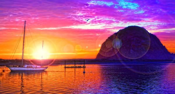 Morro Bay Digital Art - Sunset Light Show by David Castello