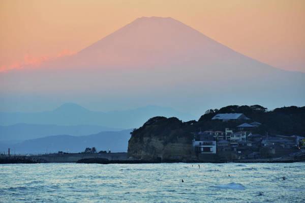 Kamakura Wall Art - Photograph - Sunset Mt.fuji Viewed From Beach by Taro Hama @ E-kamakura