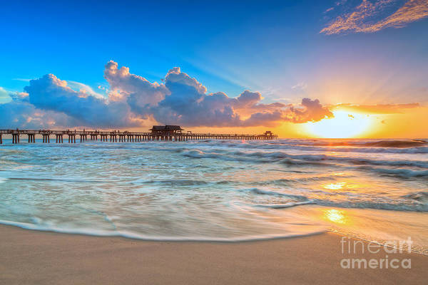 Photograph - Sunset Naples Pier by Hans- Juergen Leschmann