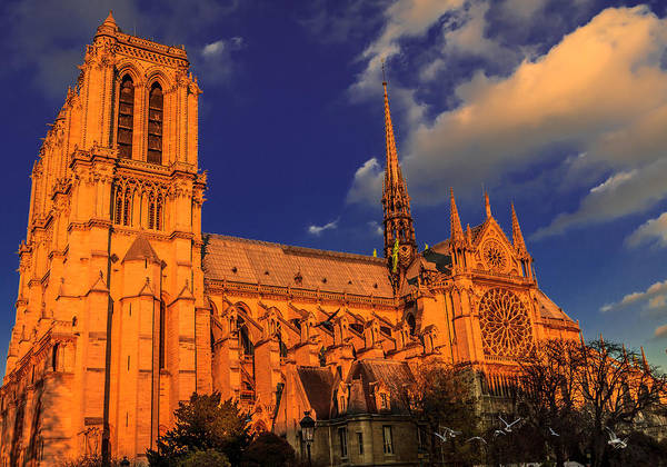 Digital Art - Sunset Notre Dame by Ray Shiu