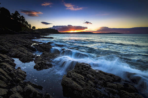 Sunset On Ber Beach Galicia Spain Art Print