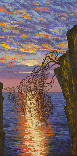 Wall Art - Painting - Sunset On Cliff by Vrindavan Das