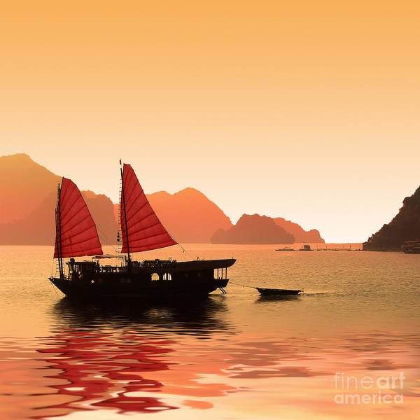 Boat Silhouette Wall Art - Photograph - Sunset On Halong Bay by Delphimages Photo Creations